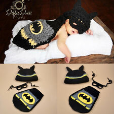 Infant Baby Kid Batman Cloth Photography Costume Knit Handmade Crochet Outfit