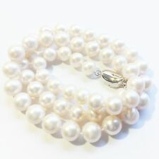 AAA Genuine 8-9mm White Round Pearl Necklace Solid Sterling Silver Freshwater 16