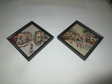 """Pair Triangular CITYSCAPE NEEDLEPOINT & PETIT POINT Wall Hangings-6.25"""" x 6.5"""""""