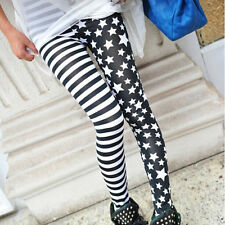 Girl's Punk Stylish Stripe Stars Skinny Stretchy Slim Pencil Legging Pants
