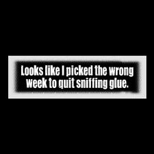 "Funny ""WRONG WEEK TO QUIT SNIFFING GLUE"" Airplane BUMPER STICKER movie 1980 II"