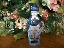 Delft Figurine Dutch Woman Blue & White Ceramic VTG 1960s Collectible Home Decor