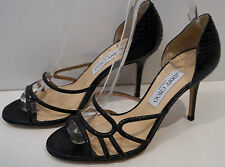 JIMMY CHOO Black Snakeskin & Sparkle Strappy High Heel Sandals Shoes EU39 NEW!