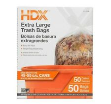 HDX 50 Gallon Extra Large Clear Trash Bags 50 Count Garbage Kitchen Commercial