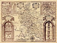 MAP ANTIQUE 1610 SPEED BUCKINGHAMSHIRE HUNDREDS READING REPLICA PRINT PAM1605