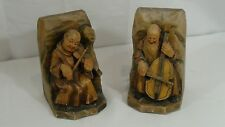 PAIR 1920c ITALIAN WOOD CARVED BOOKENDS OF MONKS PLAYING A MUSICAL INSTRUMENTS