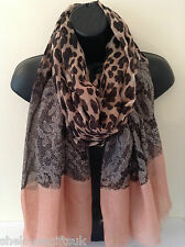 Ladies Women Leopard Print With Lace Illustration PINK Scarf Wrap Shawl Pashmina