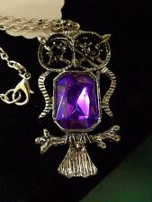 Owl necklace Purple Center Lobster claw clasp Estate
