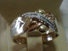 14k tricolored gold 4 band 0,25 ct diamond puzzle ring sizes from 4 to 14