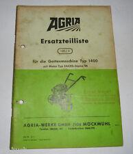 Ersatzteilliste 140/2 Agria für Gartenmaschine Type 1400 mit Sachs Stamo 96 1970
