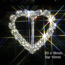 10 HEART DIAMANTE RHINESTONE RIBBON SLIDER BUCKLES APRX 2CM WEDDING INVITATIONS