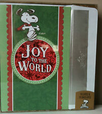 Snoopy Peanuts Christmas Cards Box 18 Dayspring Joy to the World Foil Envelope