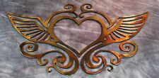 Ornamental Heart and Wings Copper/Bronze Plated Metal Wall Decor