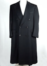 Ed Mitchell 40 Loro Piana 100% Cashmere Double Breast Overcoat Solid Black Long