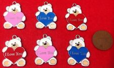 """Set of 6 Bespoke """"I LOVE YOU"""" Teddy Bear Charms Blue Pink Red Enamel Charms -K1"""