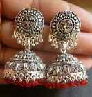 Antique Silver Plated Vintage Red Crystal Set Indian Jhumka Earrings 3 cm Style