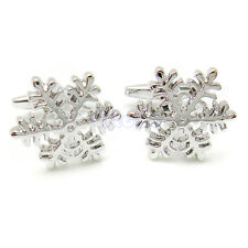 New Silver Copper Snowflake Cufflinks Cuff Links Christmas Wedding Party Gift