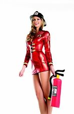 Plus Size Lingerie 1X 2X Metallic Red Firefighter Dress SEXY Halloween Costume