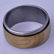 B1368 European Style Vintage Men's Band Ring Yellow White Gold Filled Size 9#