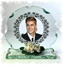 Justine Bieber Cut Glass Round Plaque  Fan Club Collectors Limited Edition #1