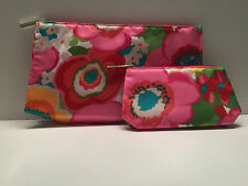 CLINIQUE Pretty Floral Cosmetic Makeup Bag Zipper Pouch (1 Large + 1 Small )