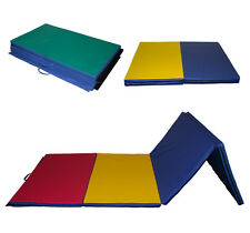 """Thick Folding Gymnastic Gym Exercise Aerobics Mats 4'x10'x2"""" Fitness Multi-Color"""
