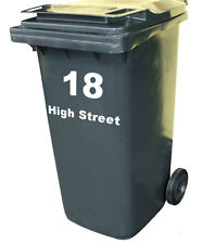 WHEELIE BIN STREET NUMBER Custom Waterproof Art Vinyl Sign Decal Stickers 1