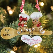 "Gingerbread Couple ""Our 1st Christmas Together"" on Wooden Spoon Ornament"