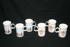 Gucci Christmas Holiday Mugs Bone China England Cups Set of 6 Rare HTF