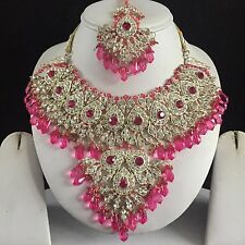 PINK SILVER INDIAN COSTUME JEWELLERY NECKLACE EARRINGS CRYSTAL SET BRIDAL NEW