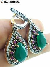 925 STERLING SILVER JEWELRY TURKISH OTTOMAN HANDMADE EMERALD EARRINGS GIFT E2661