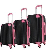 Brio Luggage Hardside Spinner Luggage 3PC Set Black and Pink (NOB) See Details!