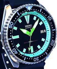 "Vintage mens watch SEIKO diver 7002 mod w/Neon Green DAGGER & ""Stealth"" SS hands"