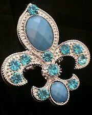 """FLEUR DE LIS 2"""" Blue Crystal  Silver Tone Stretch Band Cocktail Ring Gift"""