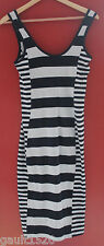 NWT French Connection Nocturnal Navy Blue Ice White Striped Maxi Dress 10 $88