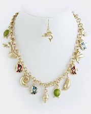 D25 Nautical Sea Gold Turtle Dolphin Seashell Fish Charm Necklace Boutique