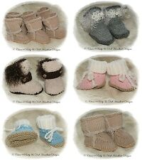 "BABYDOLL HANDKNIT DESIGNS KNITTING PATTERN FASHION BOOTS 0-6M BABY /18-24"" DOLL"