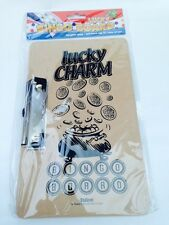 6x LUCKY CHARM BINGO BOARD With CLIP 290 x 120mm HARDBOARD HANGING CLASP GAMES