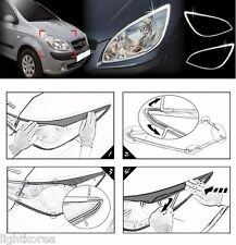 Chrome Head Lamp Garnish 2Pcs 1Set For Hyundai New Getz Click 2006 2011