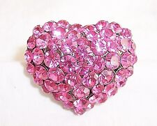 Stunning Hot Pink Glass Rhinestone Cluster Dome Heart Shaped Ring 6.5 Adjustable