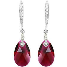 PRETTY 14K RUBY RED TEAR DROP EARRINGS - SWAROVSKI ELEMENT CRYSTALS