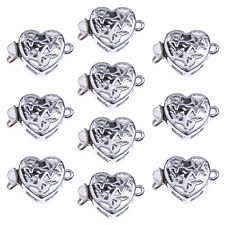 10 Silver Tone Alloy Hollow Heart Necklace Clasps Hooks Connector AD
