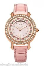 LIPSY LADIES PINK GEM SET DIAMANTE LEATHER STRAP WATCH BRAND NEW IN GIFT BOX