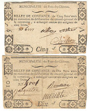 Revolution Auvergne lot 2 billets confiance 5 + 10  sous  French emergency notes