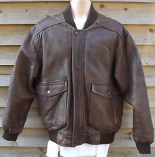Vintage st. michael en cuir marron us army air flying/aviator jacket-s/37""