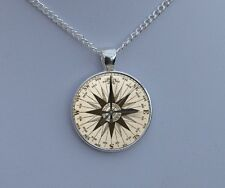 Vintage Compass Pendant Necklace - Old Fashioned Antique Style Picture Jewellery