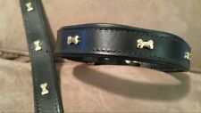 """16"""" BLACK LEATHER DOG COLLAR WITH BRASS BONES NEW VERY NICE FREE SHIPPING"""