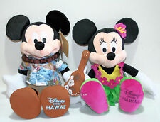 "NEW Disney Store Hawaii EXCLUSIVE 17"" Mickey Mouse Ukulele & Minnie Hula Plush"