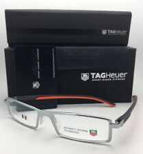 New TAG HEUER Eyeglasses TH 0803 009 54-16 142 Brushed Silver & Orange Frame