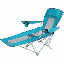 Folding Chaise Lounge Reclining Camping Chair Beach Lawn Deck Outdoor Furniture